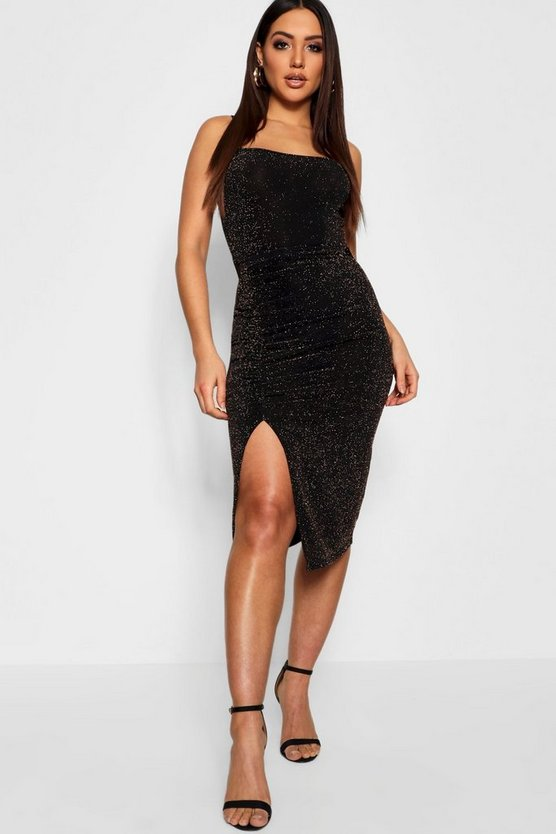 Ruched Thigh Split Glitter Midi
