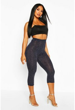 Womens Navy Glitter High Waisted Legging