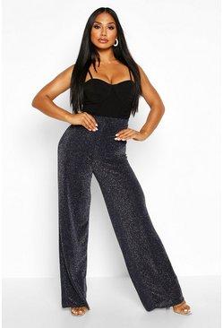 Womens Navy Glitter Wide Leg Trouser
