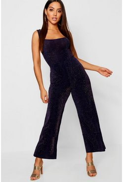 Womens Navy Glitter Culottes