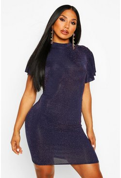 Womens Navy Glitter High Neck Angel Sleeve Mini Dress