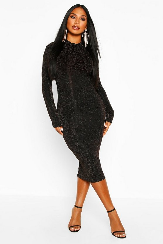 Long Sleeve Turtle Neck Glitter Midi Dress