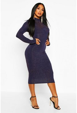 Womens Long Sleeve Turtle Neck Glitter Midi Dress