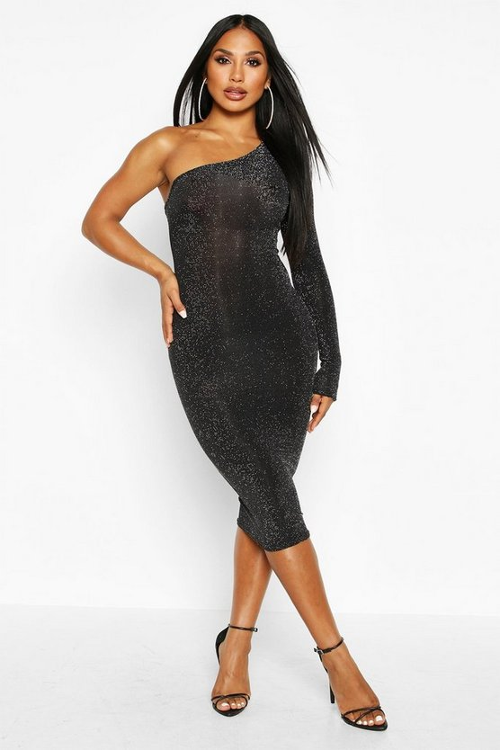 One Shoulder Glitter Midi Dress, Black, Donna