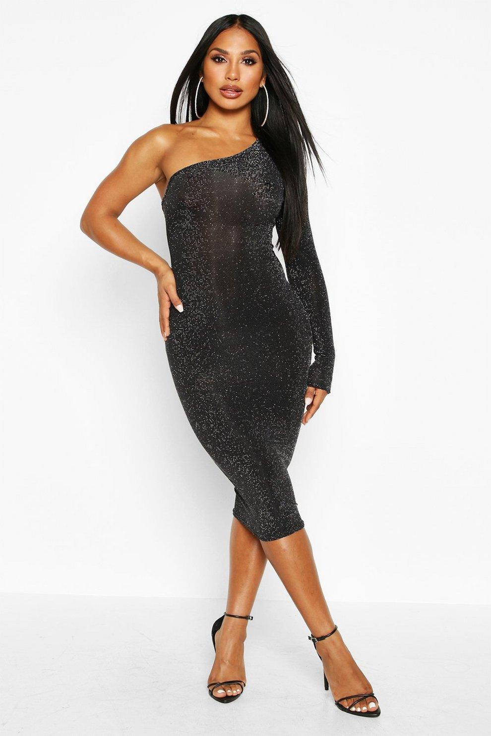 One little shoulder black dress rare photo