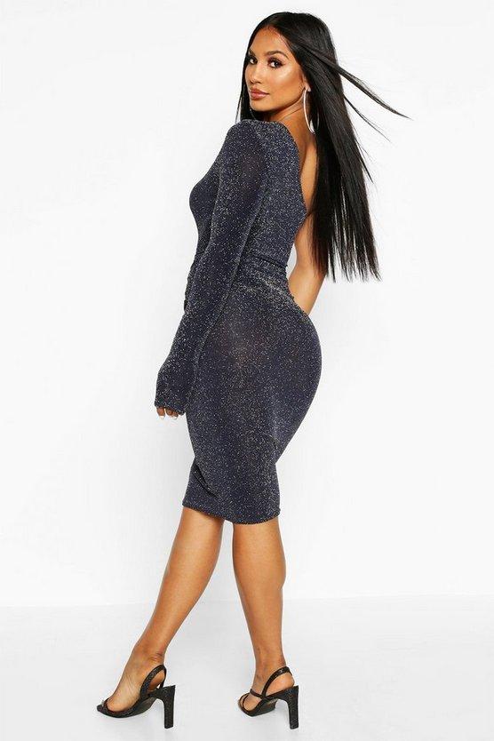 One Shoulder Glitter Midi Dress