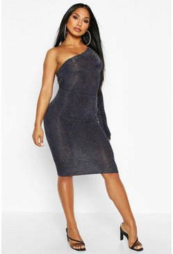 Womens Navy One Shoulder Glitter Midi Dress