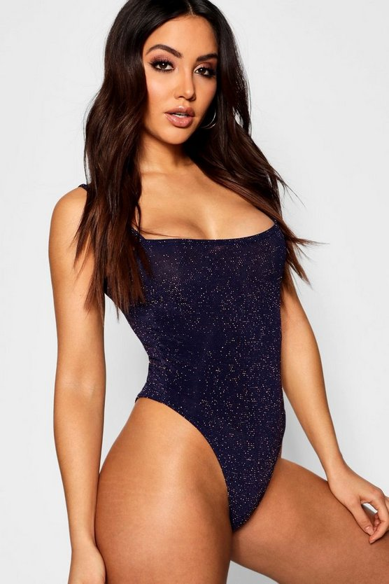 Navy Square Neck Glitter Bodysuit