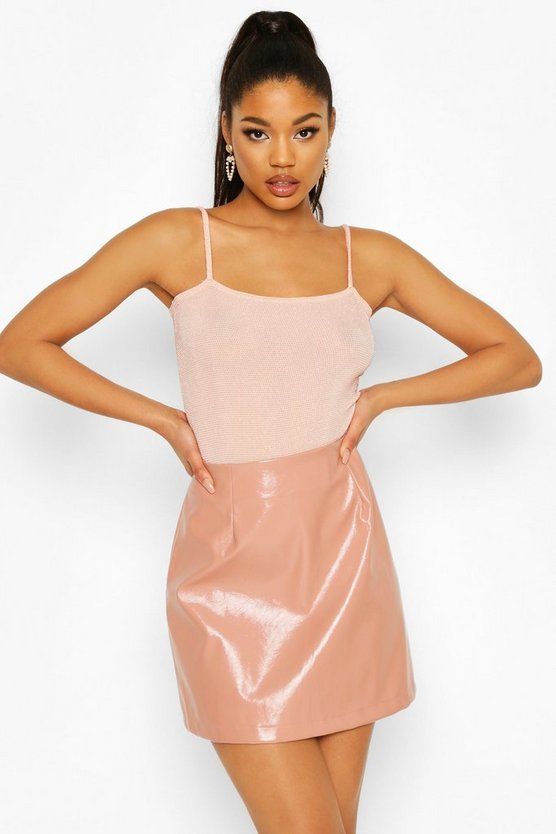 Nude Square Neck Glitter Bodysuit