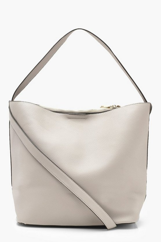 Womens Grey Bucket Daybag With Crossbody Strap