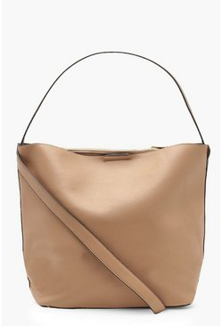 Womens Taupe Bucket Daybag With Crossbody Strap