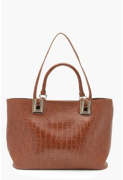 Womens Tan All Over Croc Daybag