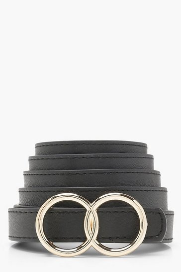 Womens Black Double Ring Boyfriend Belt