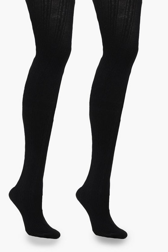 Luxury Cable Knit Tights, Black, Donna