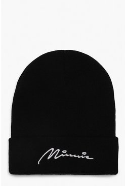 Womens Black Disney Minnie Script Beanie