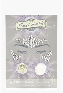Womens Multi Party Sparkle Face Gems & Eco Glitter