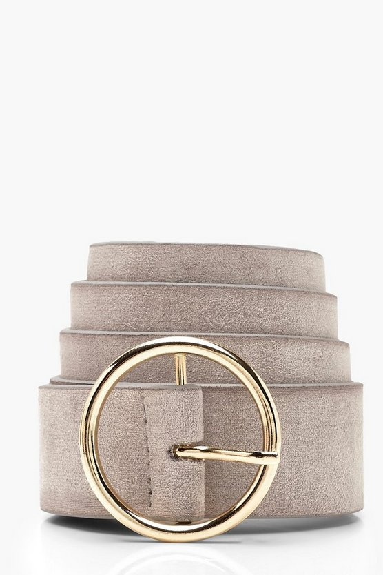 Womens Grey Circle Ring Belt