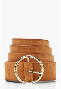 Womens Tan Circle Ring Belt