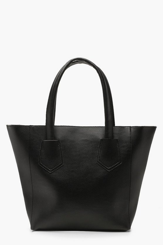 Womens Black Handle Tab Detail Tote Bag