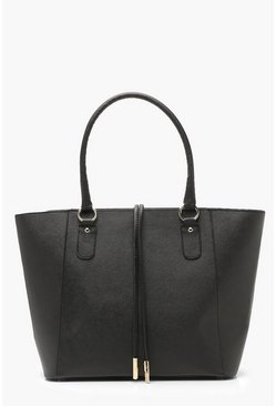 Structured Cross Hatch Tote Bag, Black, MUJER