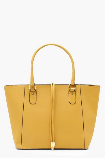 Womens Mustard Structured Cross Hatch Tote Bag