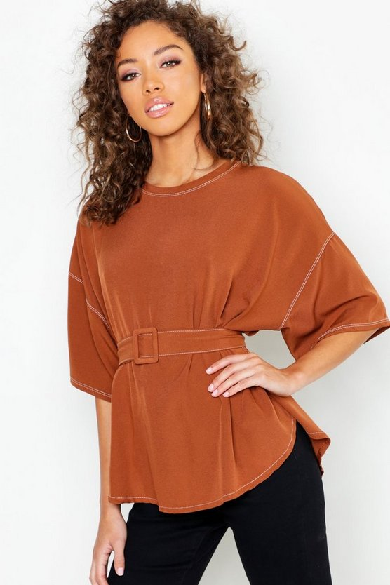 Contrast Stitch Self Belt Blouse