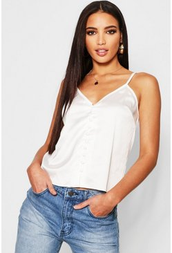 Womens Ivory Satin Button Up Cami
