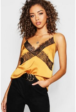 Womens Mustard Lace Trim Cami