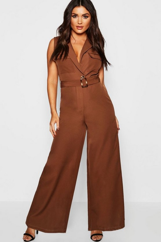 Utility Detail Sleeveless Jumpsuit