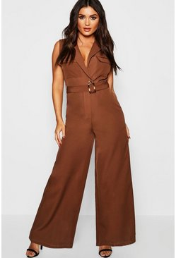 Womens Brown Utility Detail Sleeveless Jumpsuit