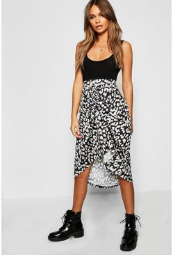Womens Black Leopard Print Ruched Skirt