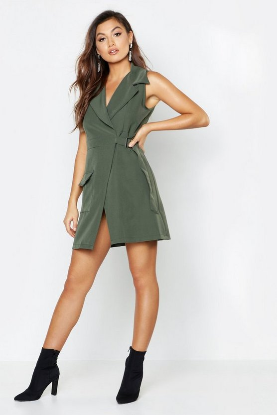 Sleeveless Utility Detail D Ring Blazer Dress