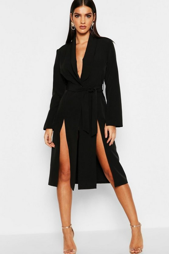 Womens Black Longline Belted Blazer Dress