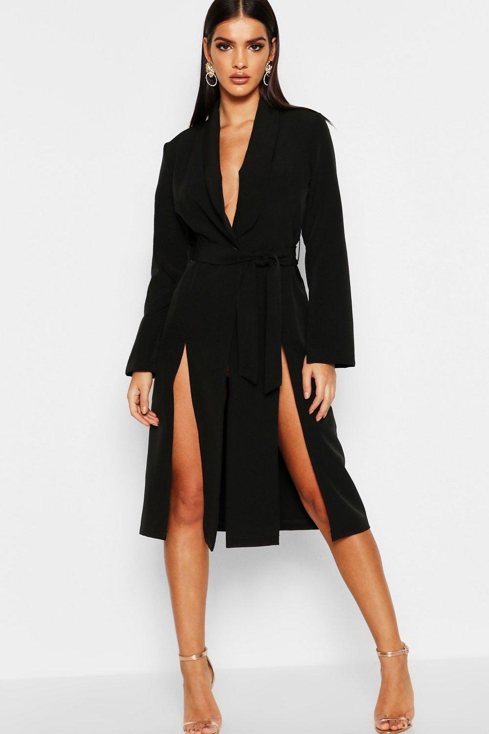 ac5e42fe3b43 Longline Belted Blazer Dress | Boohoo