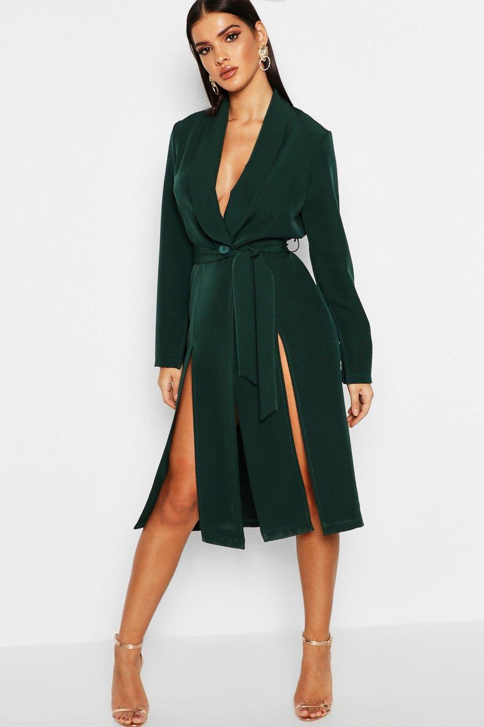 69f6d2354c39 Longline Belted Blazer Dress | Boohoo