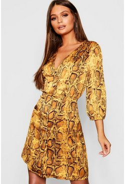 Womens Mustard Snake Print Button Detail Skater Dress