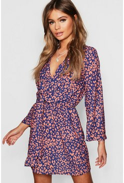Womens Navy Leopard Print Knot Front Wrap Dress
