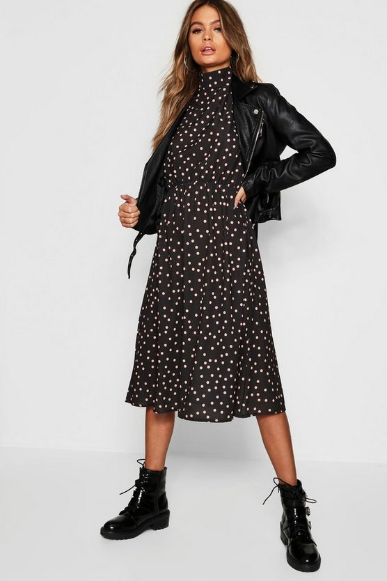 Polka Dot Asymmetric Hem Midi Dress