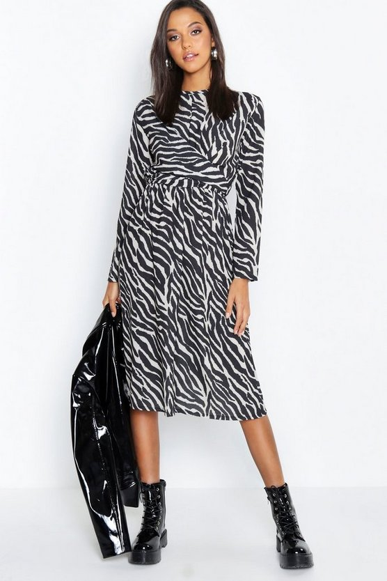 Zebra Print Wrap Detail Midi Dress