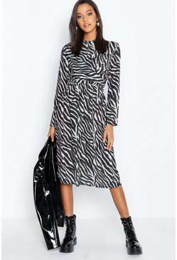 Womens Black Zebra Print Wrap Detail Midi Dress