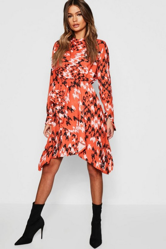 Houndstooth Print Asymmetric Hem Dress