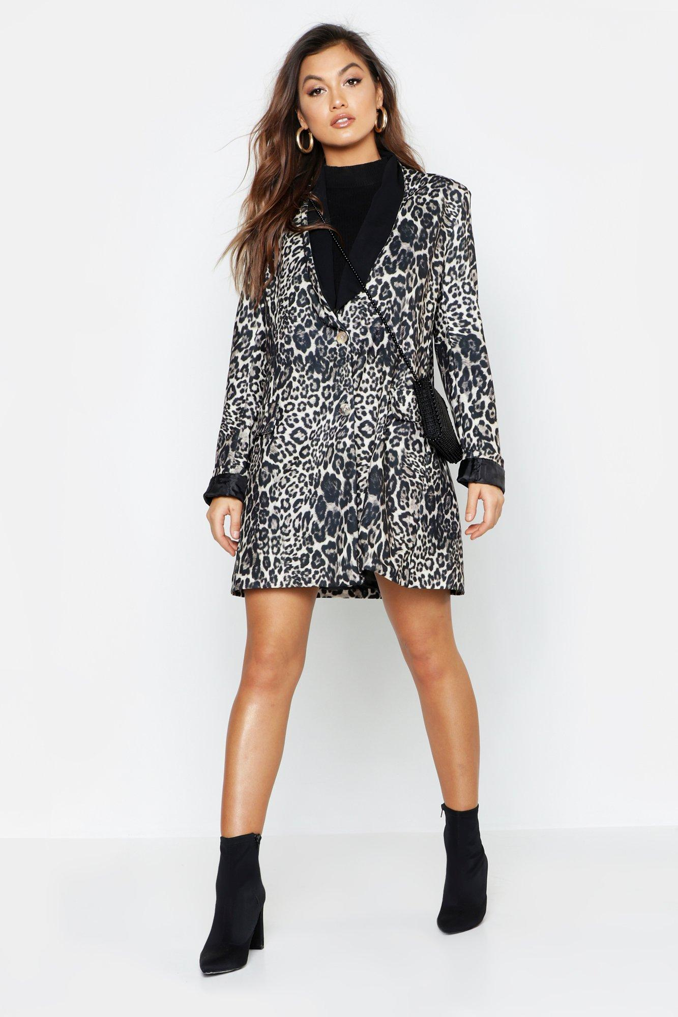 Leopard Print Contrast Print Blazer Dress