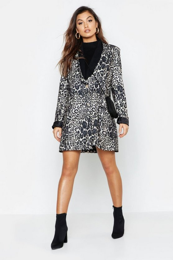 Womens Brown Leopard Print Contrast Print Blazer Dress