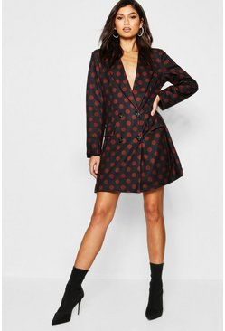 Womens Black Polka Dot Blazer Dress