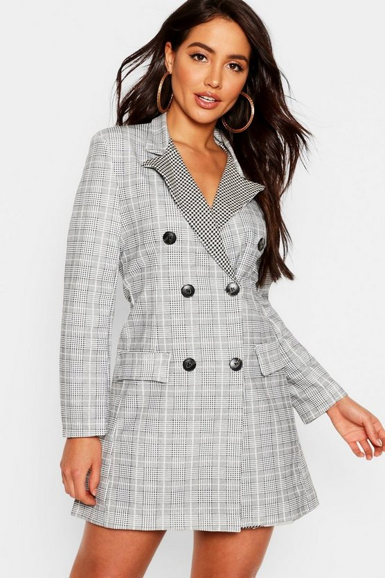 Womens Black Contrast Dogtooth Blazer Dress
