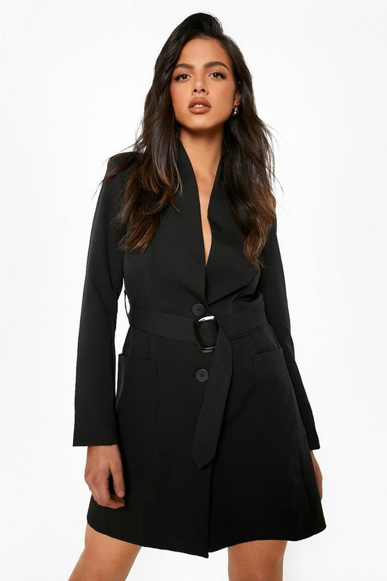 Womens Black Belted Pocket Detail Blazer Dress