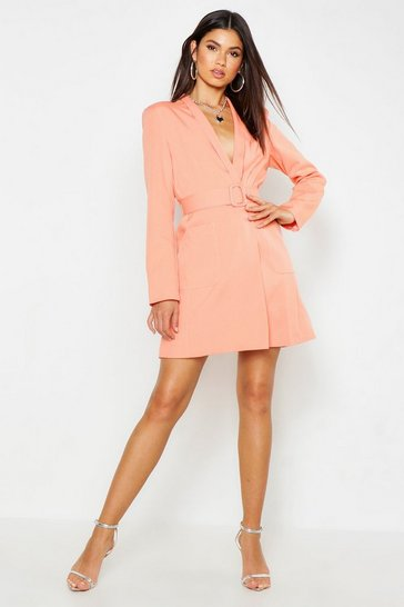 Womens Coral Belted Pocket Detail Blazer Dress