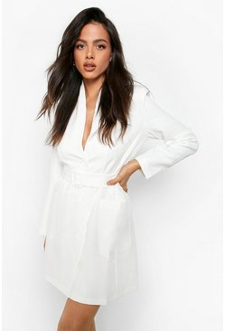 Womens Ivory Belted Pocket Detail Blazer Dress