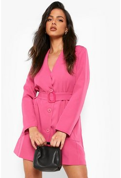 Belted Pocket Detail Blazer Dress, Pink