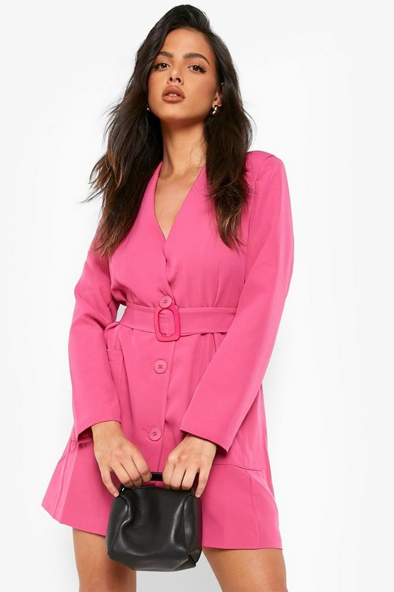 Belted Pocket Detail Blazer Dress, Pink, Donna